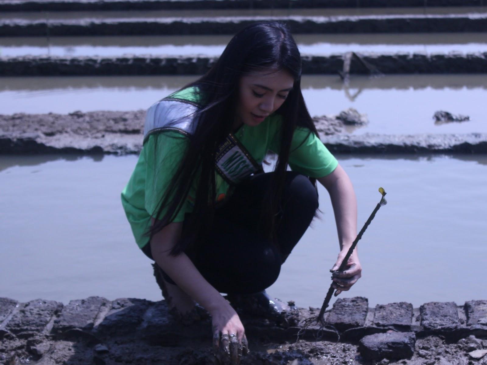 Miss Earth, Luisa Andrea, dan Miss Ecotourism, Hanni Wulandri Dharma juga ikut menanam mangrove. (Foto: Dokumentasi pribadi).