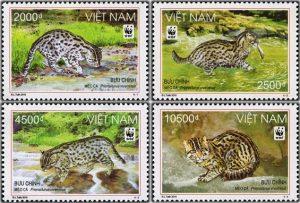 Perangko khusus tentang seri Kucing Mangrove. Perangko ini dikeluarkan oleh pemerintah Vietnam bekerjasama dengan WWF. Keren, ya!